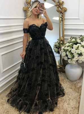 Black Off-the-shoulder Prom Dresses | Sexy A-line Evening Gown With Aplliques_3