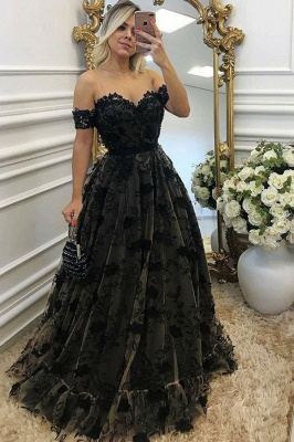 Black Off-the-shoulder Prom Dresses | Sexy A-line Evening Gown With Aplliques_1