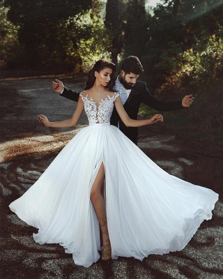 Summer Chiffon A-line Wedding Dresses | Capped Sleeves Lace Appliques Slit Bridal Gowns_4
