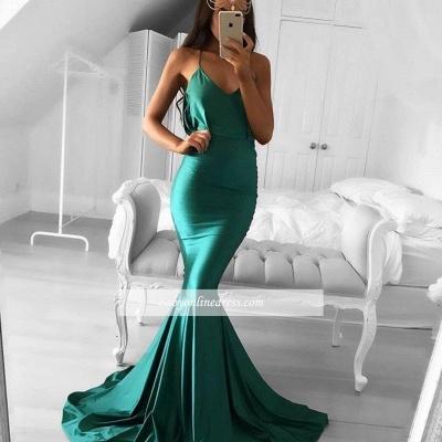 Sweep-Train Green Spaghetti-strap Sleeveless Mermaid Modest Prom Dress_1