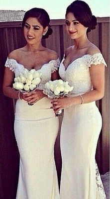 Simple Off Shoulder Sheer Lace Mermaid Cheap Bridesmaid Dresses_2