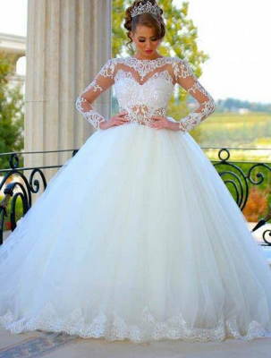 Long Sleeves Ball Gown Wedding Dresses Sheer Lace Puffy Princess Bridal Gowns_3