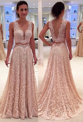 Two-Piece A-line Modern Lace Straps Sleeveless Prom Dress_2