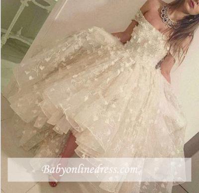 Romantic Off-the-shoulder Hi-Lo Prom Dresses 2018 3D-Floral-Appliques Evening Gowns_1