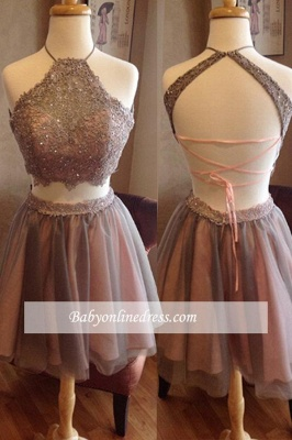 Two Piece Spaghettis Straps Lace Halter Neck Homecoming Dresses_1