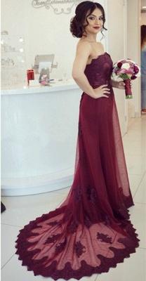 Lace Open-Back Appliques Elegant Strapless Cheap Court-Train Burgundy Prom Dress_2