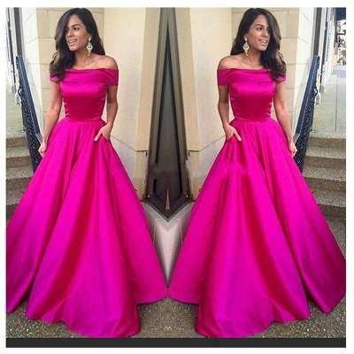 Simple A-Line Off-the-Shoulder Prom Dresses Satin Floor Length Party Gowns_3