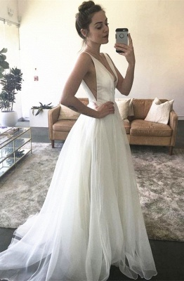A-line White Sweep-Train Straps V-neck Newest Sleeveless Wedding Dress_2