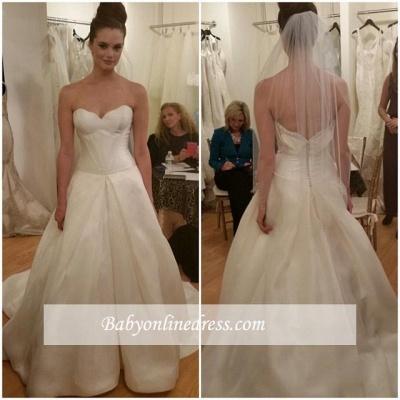 Gorgeous Sleeveless Princess Bridal Gowns Zipper Sweetheart Wedding Dresses_1