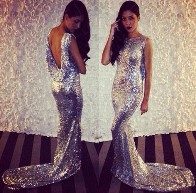 Silver Sequins Mermaid Prom Dresses | Shiny Dropped Back Evening Gowns_3