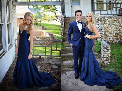 Sweetheart Long Navy Blue Prom Dresses Sweep Train Mermaid Formal Evening Gowns_5