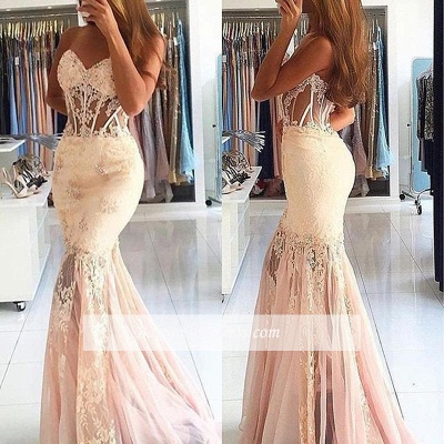 Stunning Appliques Mermaid Long Sweetheart Lace Prom Dress_1