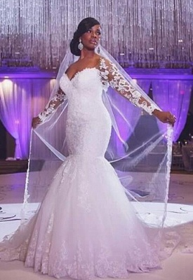 Lace Long Sleeves Fit and Flare Wedding Dresses Beaded Illusion Court Train Sexy Bridal Gowns_3
