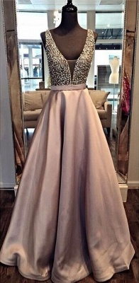 A-line Deep V-neck Prom Dresses Floor Length Crystal Evening Gowns_4