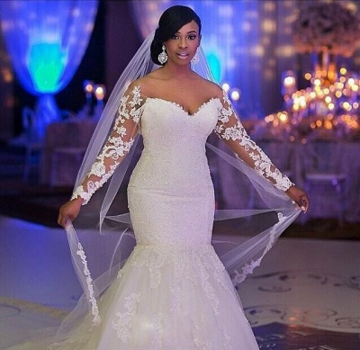 Lace Long Sleeves Fit and Flare Wedding Dresses Beaded Illusion Court Train Sexy Bridal Gowns_4