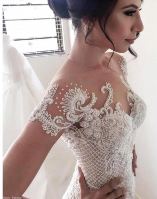 Modern Mermaid Wedding Dresses | Short Sleeves Beading Ball Gown Bridal Gowns_5