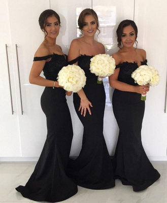 Black Mermaid Sexy Bridesmaid Dresses | Off-the-Shoulder Maid of the Honor Dresses_3