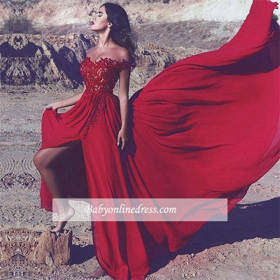 Lace Appliques Off-the-Shoulder Red Split Long Prom Dress_1