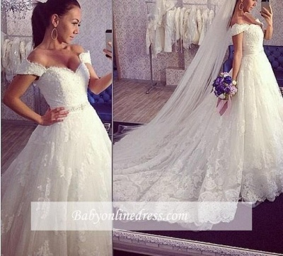 Delicate Train Lace Bridal Ball Gown Tulle Off-the-shoulder Wedding Dress_1