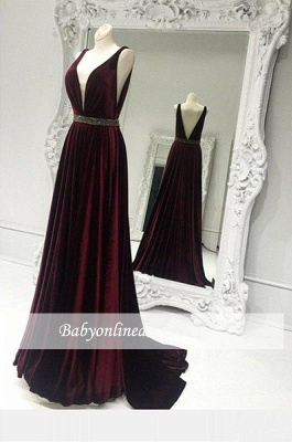 Sexy V-neck Burgundy Prom Dress 2018 Zipper A-line Sleeveless Sweep-Train Evening Gowns_1