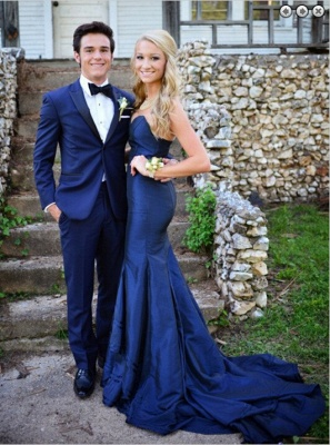 Sweetheart Long Navy Blue Prom Dresses Sweep Train Mermaid Formal Evening Gowns_3