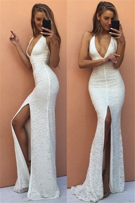 Modest Mermaid White V-neck Evening Gowns Front-Split Backless Sleeveless Lace Prom Dress_2
