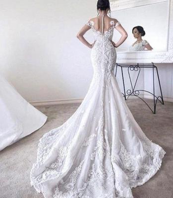 Modern Mermaid Wedding Dresses | Short Sleeves Beading Ball Gown Bridal Gowns_3
