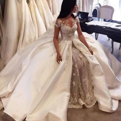 Modern Mermaid Wedding Dresses | Short Sleeves Beading Ball Gown Bridal Gowns_4