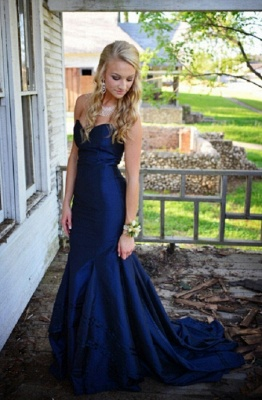 Sweetheart Long Navy Blue Prom Dresses Sweep Train Mermaid Formal Evening Gowns_1