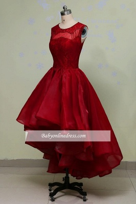 Glamorous Hi-Lo Red Prom Dress Sleeveless Sequins Lace Evening Gowns_1