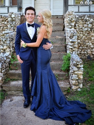 Sweetheart Long Navy Blue Prom Dresses Sweep Train Mermaid Formal Evening Gowns_4