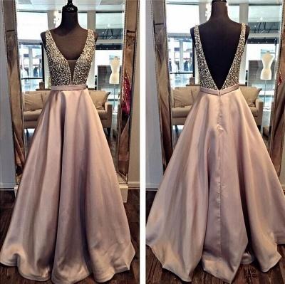 A-line Deep V-neck Prom Dresses Floor Length Crystal Evening Gowns_3