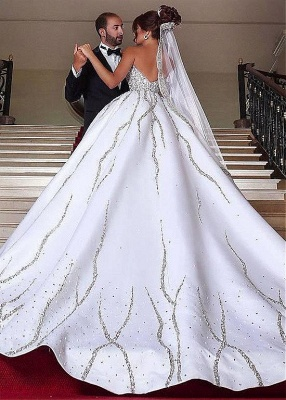 Brilliant Ball Gown Wedding Dresses Sweetheart Sleeveless Beading Bridal Gowns_3