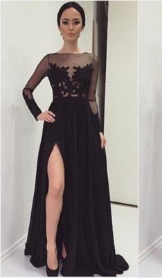 Appliques Bateau Black Long-Sleeves Elegant Side-Slit Prom Dress_2