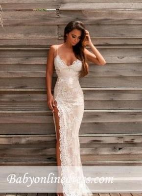 Lace Sheath Side-Slit Sweetheart Straps Spaghettis Elegant Evening Gowns_1