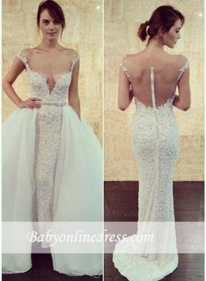 Glamorous Pearls Tulle Cap-Sleeve Detachable Long Wedding Dress with Beadings_2