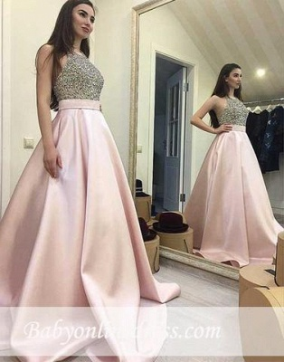 Pink Sweep-train Beading Sequin Round-neck A-line Elegant Prom Dress_3