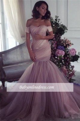 Lalic Off-The-Shoulder Tulle Elegant Ruffles Mermaid Evening Dress 2018_3