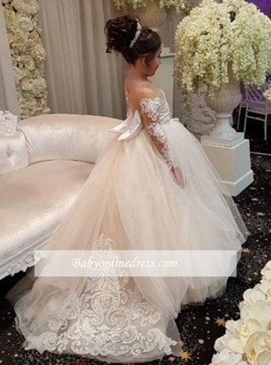 Long-Sleeve Gown Flower Romantic Ball Lace Girls Dresses_1