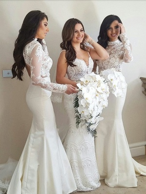 Lace Two-Piece Cheap High-Neck Mermaid Long-Sleeve Bridesmaid Dress_2
