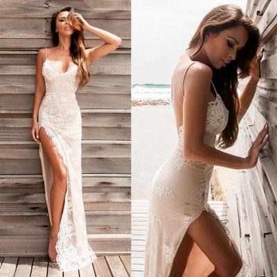 Lace Sheath Side-Slit Sweetheart Straps Spaghettis Elegant Evening Gowns_5