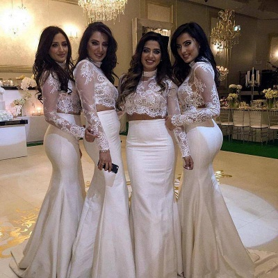 Lace Two-Piece Cheap High-Neck Mermaid Long-Sleeve Bridesmaid Dress_4