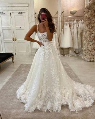 Sexy Spaghetti Strap Lace A Line Wedding Dresses | Ruffles Bridal Gown_2