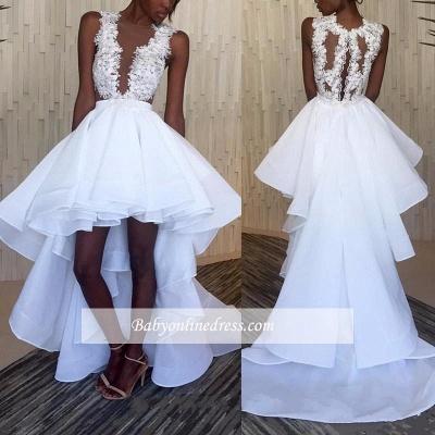 Sleeveless Ruffles Lace Hi-Lo White Appliques Wedding Dresses_1
