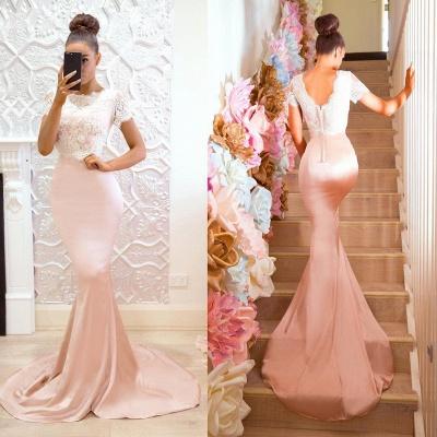 Pink Short Sleeves Bridesmaid Dresses | Lace Mermaid Maid of the Honor Dress_1