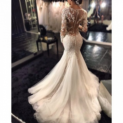 Mermaid Wedding Dresses with Long Sleeves | Lace Beaded Sheer Back Bridal Gowns_4