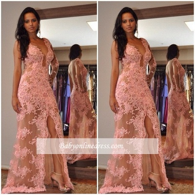 Sexy V-Neck Tulle Appliques Front-Split One-Shoulder Prom Dress_1