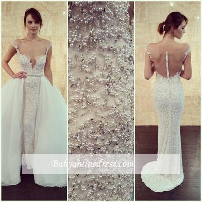 Glamorous Pearls Tulle Cap-Sleeve Detachable Long Wedding Dress with Beadings_1