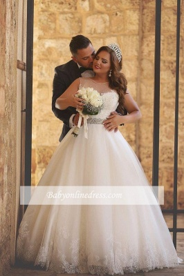 Amazing sheer Neck Bridal Ball Gown Wedding Dresses with Beaded Belt_1