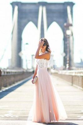 Elegant Lace Top Evening Gowns A-Line Sleeveless Pink Long Prom Dress_4